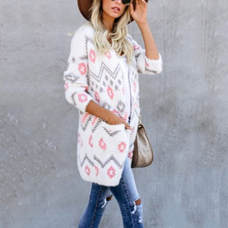 Casual flower pattern knit cardiganwhite / s