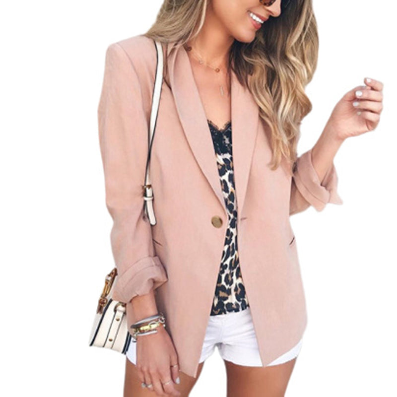 Fashion solid color button ladies small suitPink / S