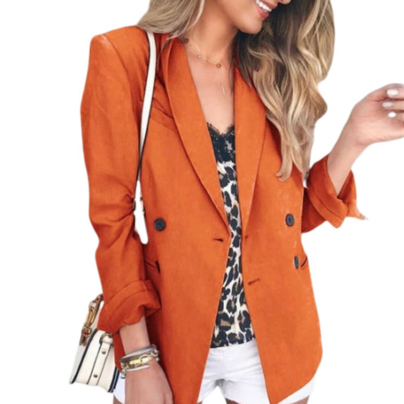 Fashion solid color button ladies small suityellow / S