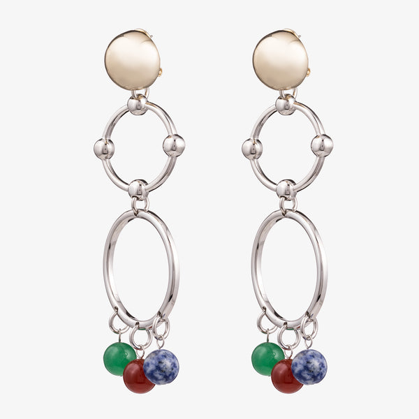 BEADED BARBELL CHANDELIER EARRINGS