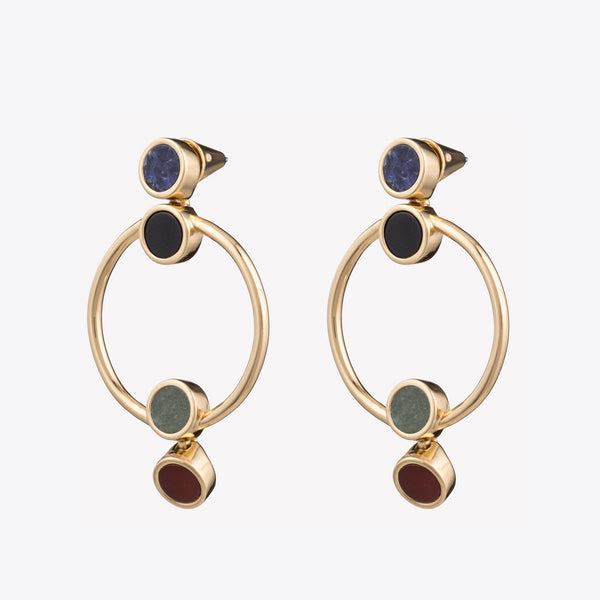 INLAID OPEN CIRCLE EARRINGS