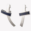 INLAID CROSSBAR EARRINGS - LAPIS