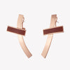 INLAID CROSSBAR EARRINGS - CARNELIAN