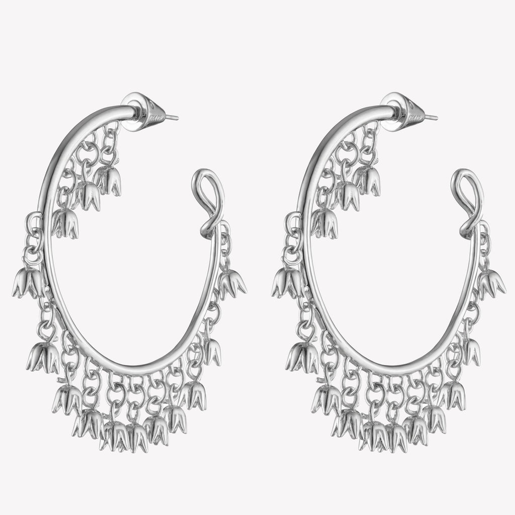 LILY OF THE VALLEY CHARM HOOPS