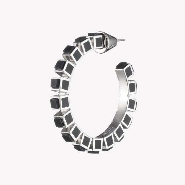 SMALL INLAID CUBE HOOPS - ONYX