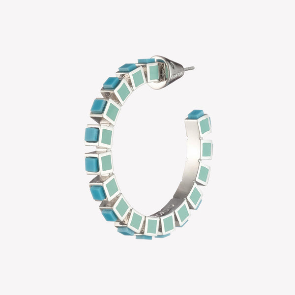 SMALL INLAID CUBE HOOPS - TURQUOISE