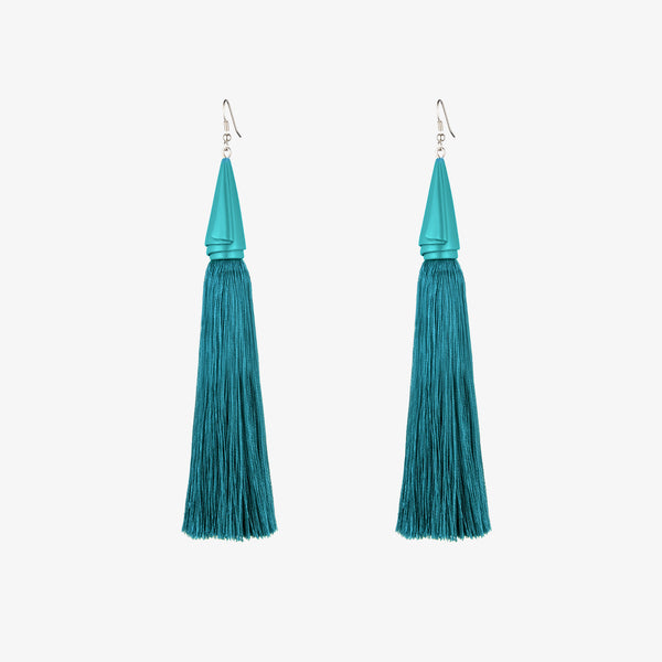 DRAPED SILK TASSEL EARRINGS