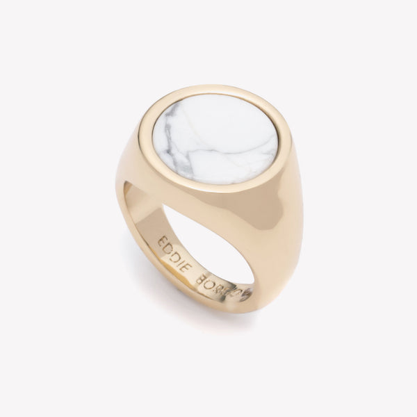 INLAID SIGNET RING - HOWLITE
