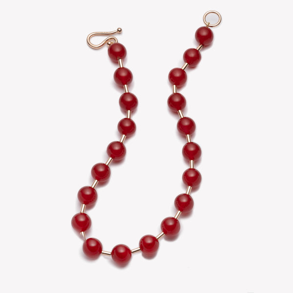 BEADED BALL CHAIN NECKLACE - CARNELIAN