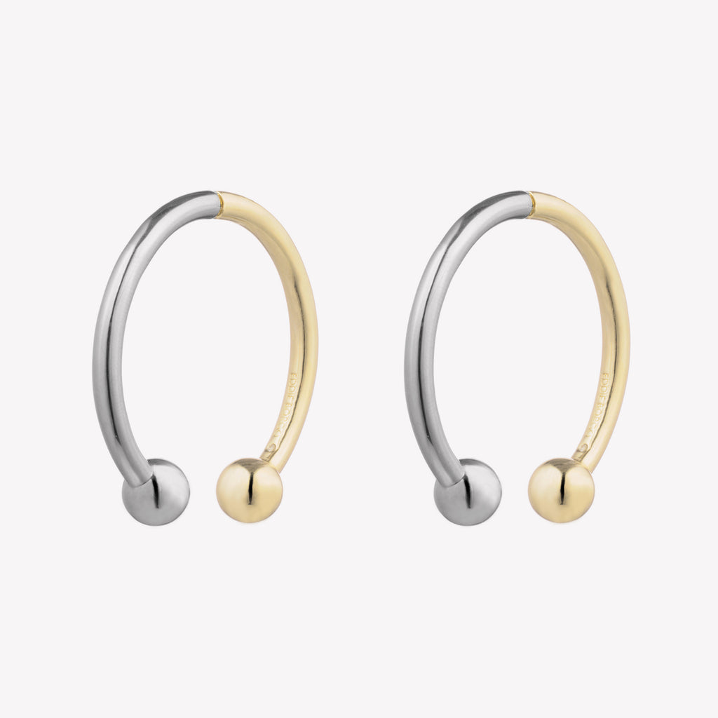 BARBELL HOOP EARRINGS  |  TWO TONE