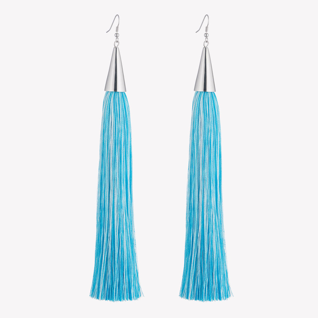 LONG SILK TASSEL EARRINGS