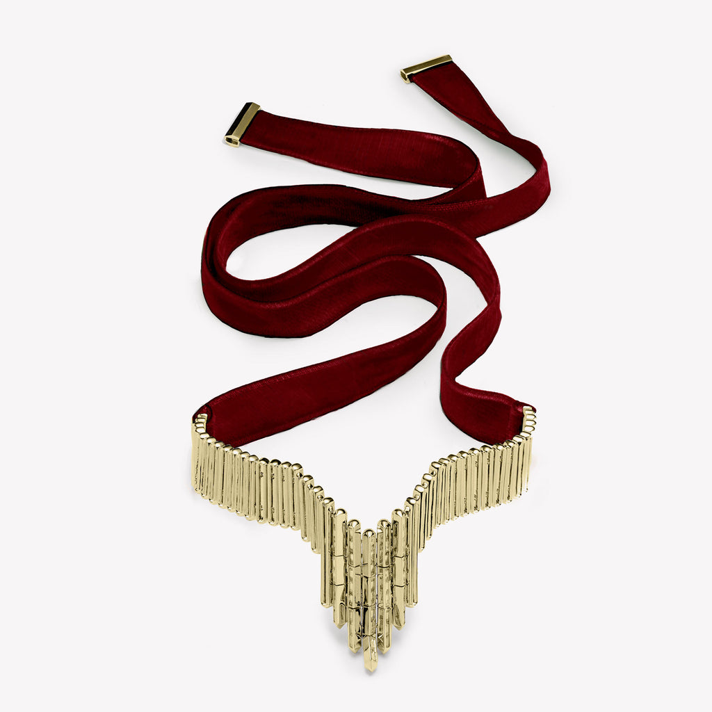 TWILL BAGUETTE COLLAR | RUBY VELVET