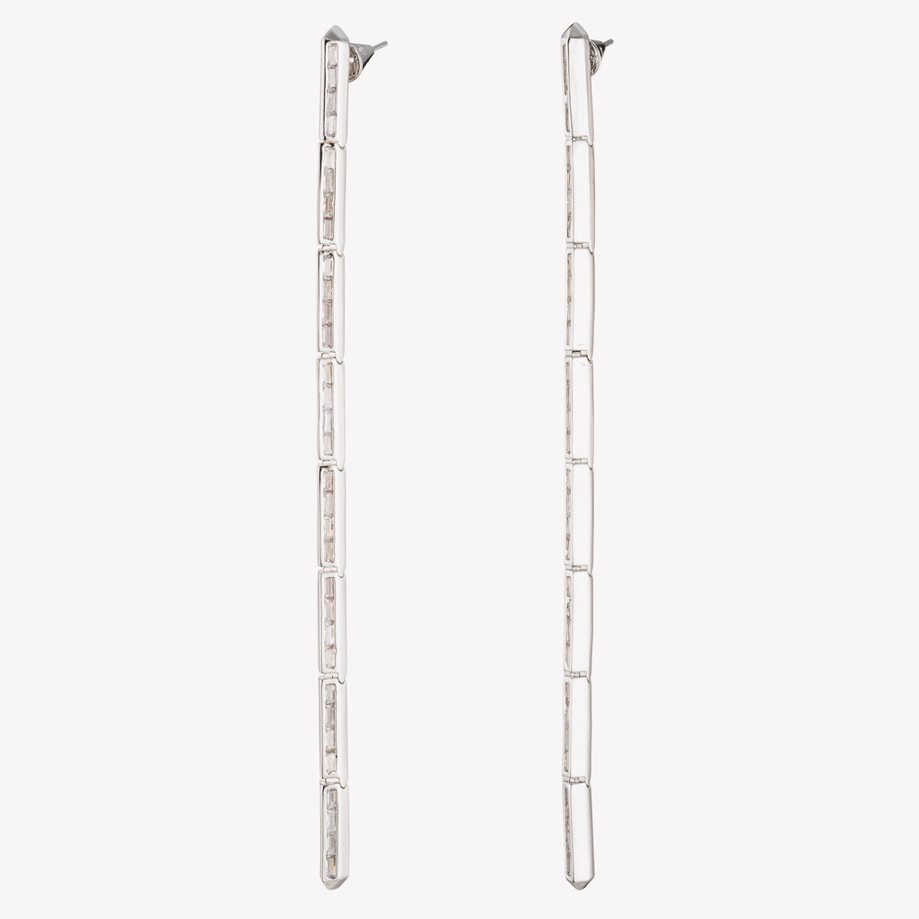 PEAKED BAGUETTE LINE EARRINGS