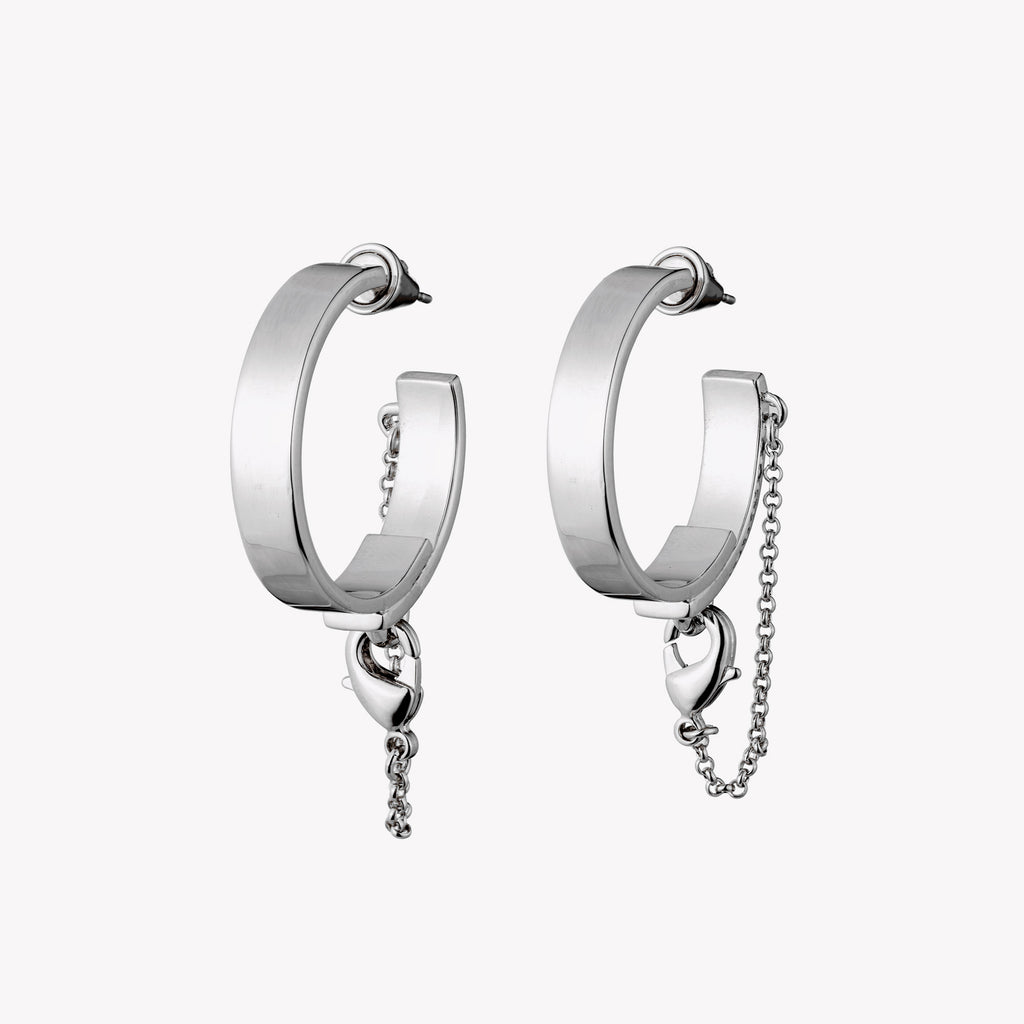 SAFETY CHAIN HOOP EARRINGS