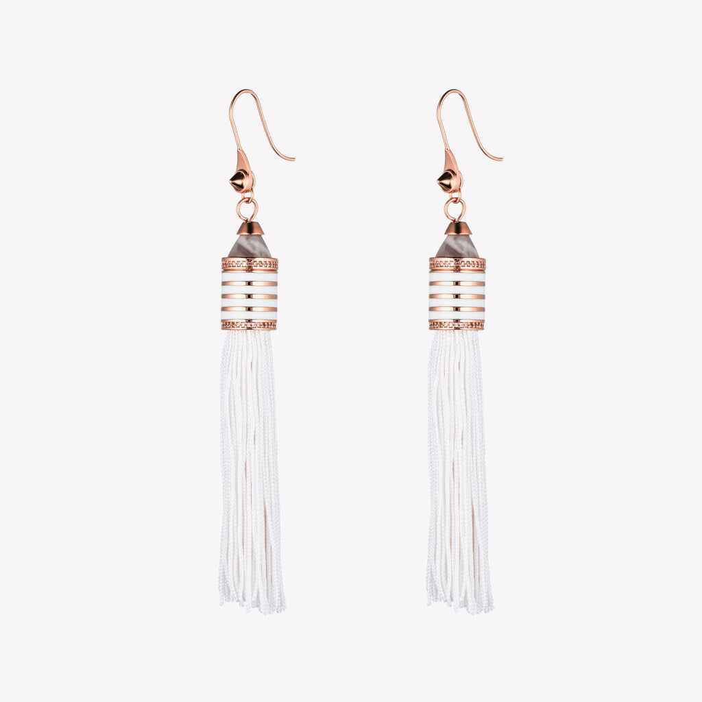 PAVÉ ENAMEL TASSEL EARRINGS