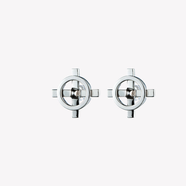 MENS COMPASS STUD EARRINGS