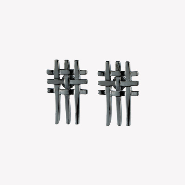 MENS GRIDLINE STUD EARRINGS