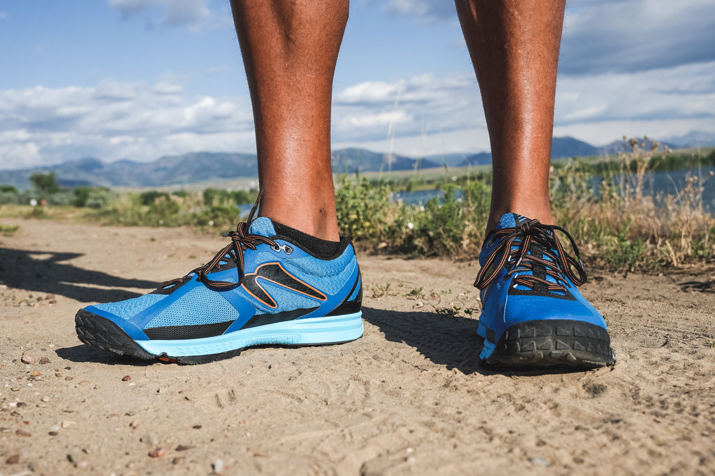 Man wearing the BOCO 5 on a trail