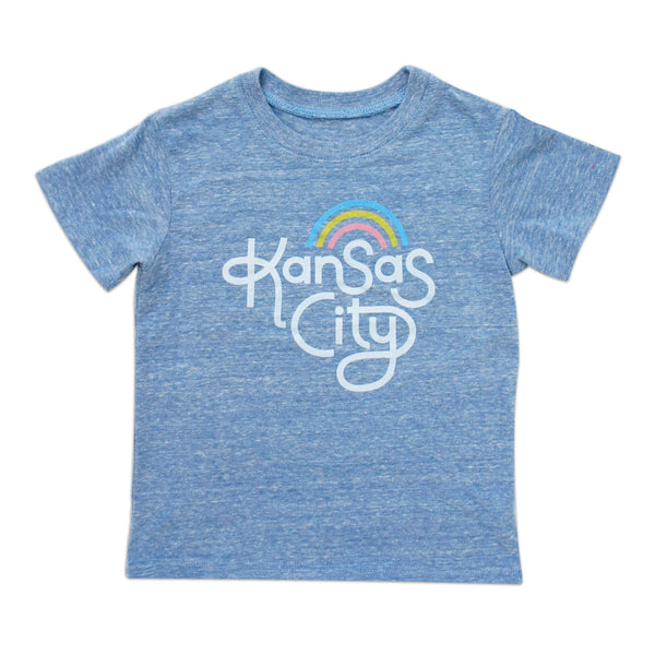 Ampersand Design Studio Kansas City Rainbow Kids Tee - Light Blue