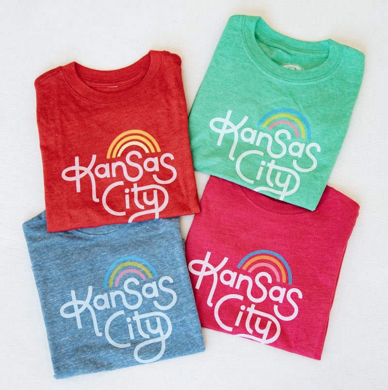 Ampersand Design Studio Kansas City Rainbow Kids Tee - Green
