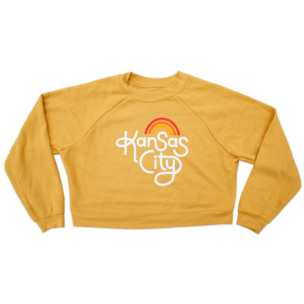 Ampersand Design Studio Kansas City Retro Crop Sweatshirt - Mustard