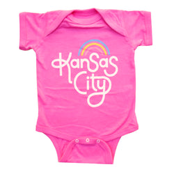Ampersand Design Studio Kansas City Rainbow Onesie - Pink