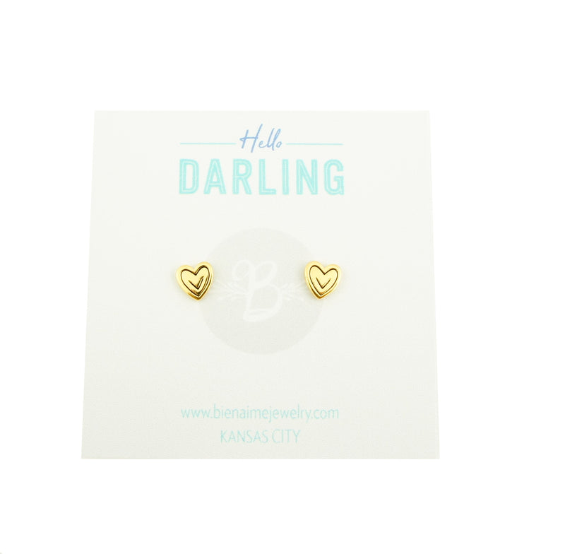 Bien-aimé Heart Stud Earrings