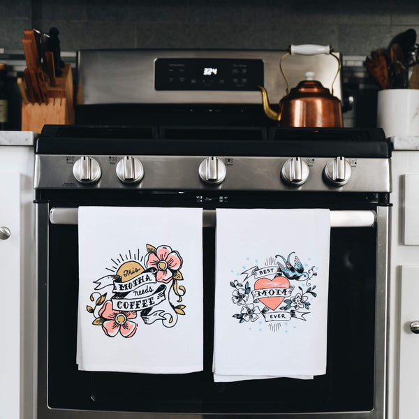 Black Bottle Art Co. Best Mom Ever Tea Towel