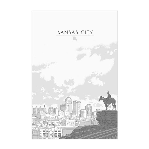 Bozz Prints Black & White Scout Skyline Postcard