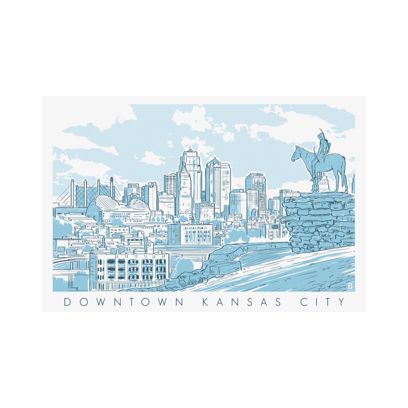 Bozz Prints Downtown Kansas City Postcard