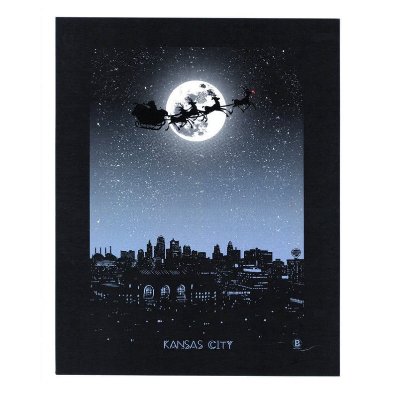 Bozz Prints Holiday Moon Over Kansas City Print