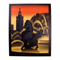 Bozz Prints Sunset Plaza Fountain Print