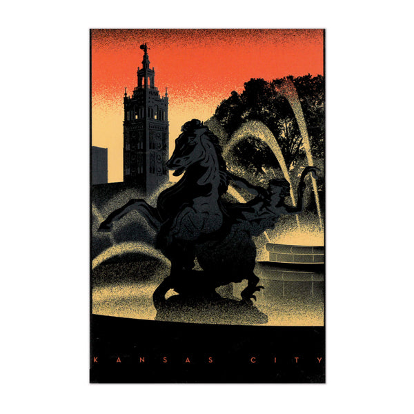 Bozz Prints Sunset Plaza Fountain Postcard