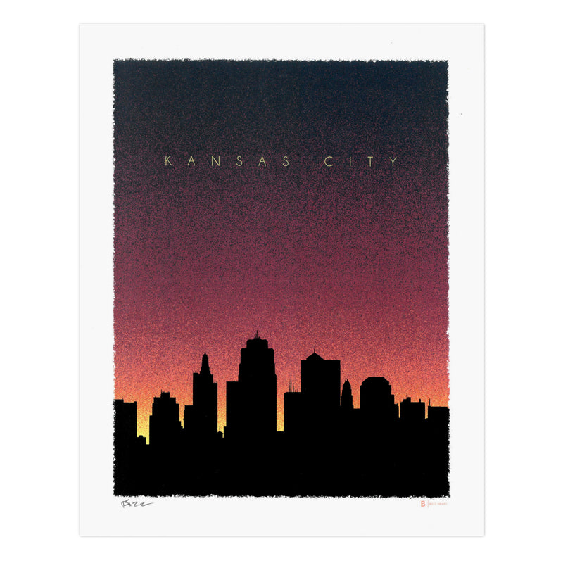 Bozz Prints Kansas City Dusk Skyline Print
