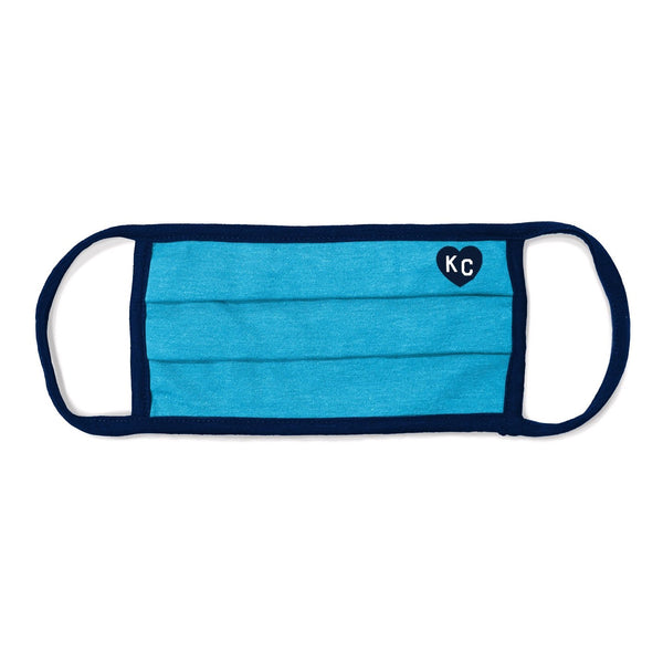Charlie Hustle KC Heart Comfort Face Mask - Blue & Navy