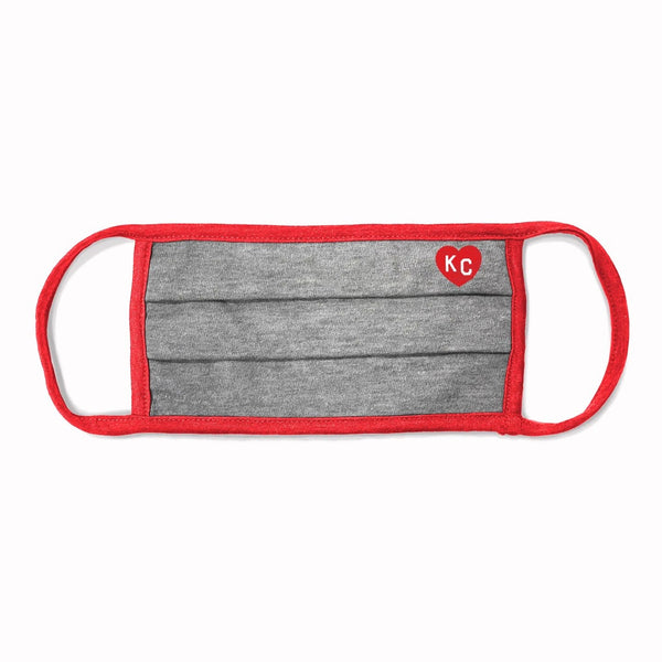 Charlie Hustle KC Heart Comfort Face Mask - Grey & Red