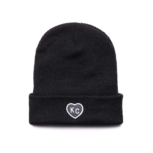Charlie Hustle KC Heart Beanie - Black