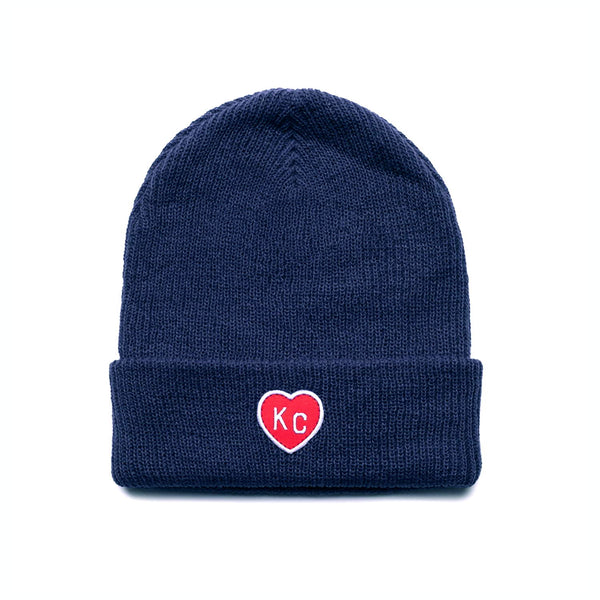 Charlie Hustle KC Heart Beanie - Navy