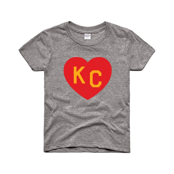 Charlie Hustle KC Heart Kids Tee - Grey, Red & Yellow