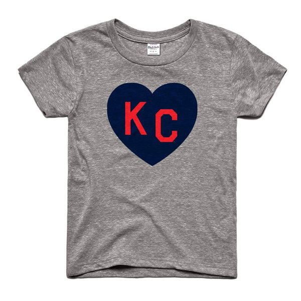 Charlie Hustle KC Heart Kids Tee - Grey