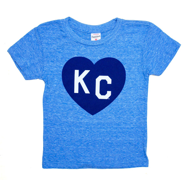 Charlie Hustle KC Heart Kids Tee - Light Blue