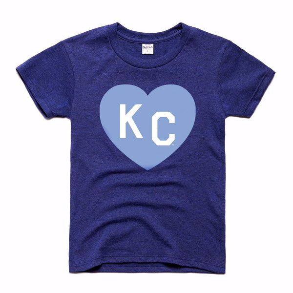 Charlie Hustle KC Heart Kids Tee - Navy & Light Blue