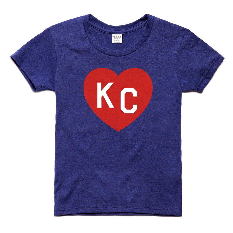 Charlie Hustle KC Heart Kids Tee - Navy & Red