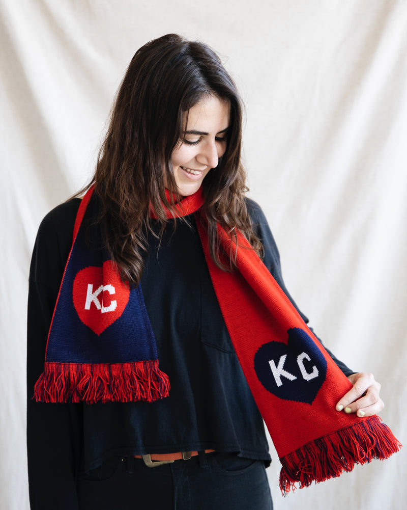 Charlie Hustle KC Heart Scarf: Navy & Red