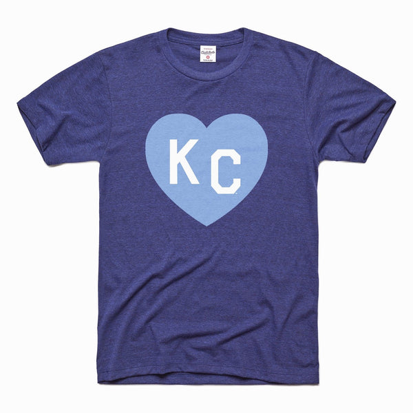 Charlie Hustle KC Heart Tee - Navy & Light Blue