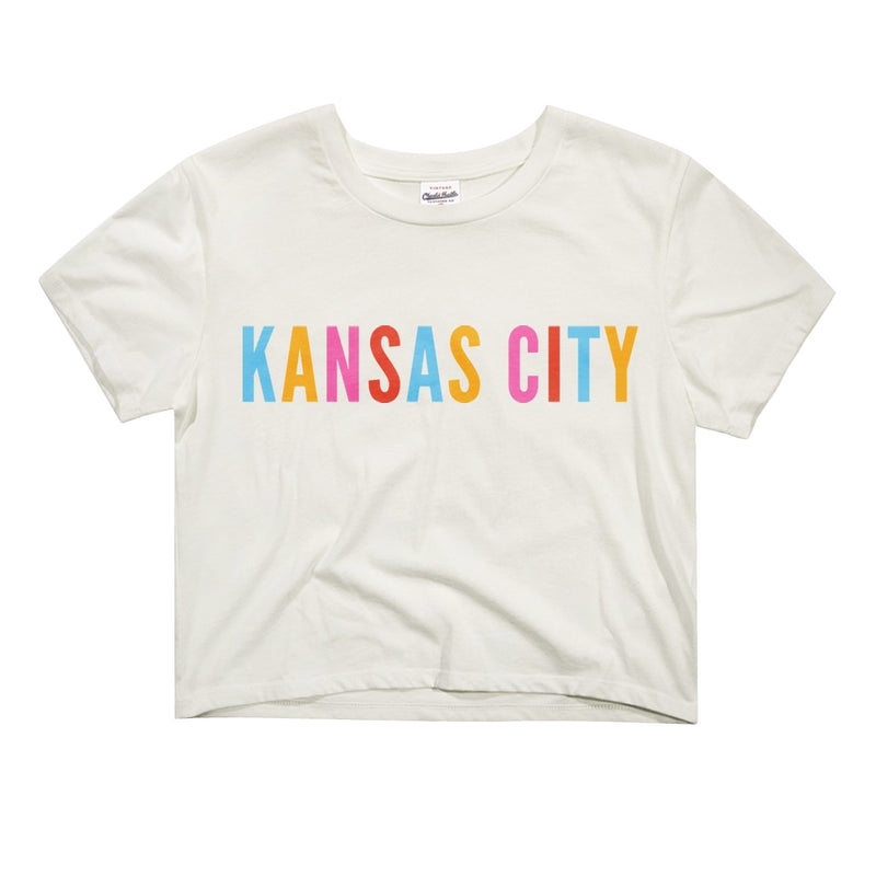 Charlie Hustle Colorful Kansas City Crop Tee - White