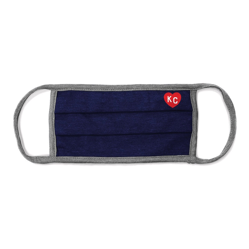 Charlie Hustle KC Heart Comfort Face Mask - Navy & Grey