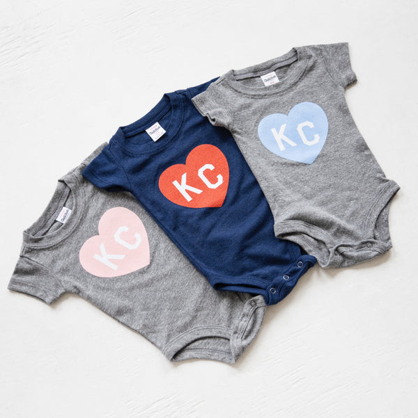 Charlie Hustle KC Heart Onesie - Navy