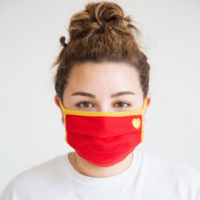 Charlie Hustle KC Heart Comfort Face Mask - Red & Gold