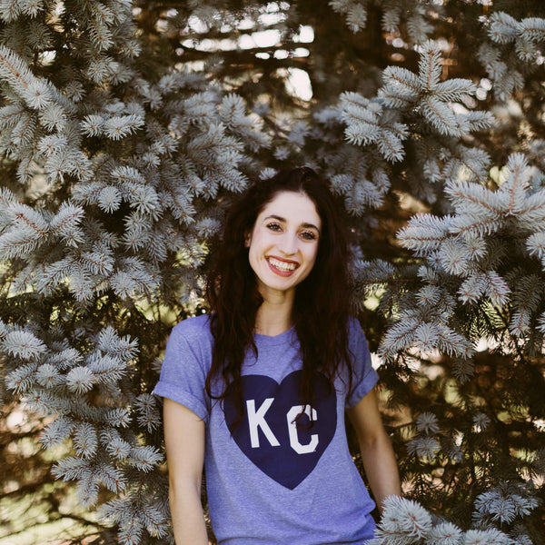 Charlie Hustle KC Heart Tee - Light Blue
